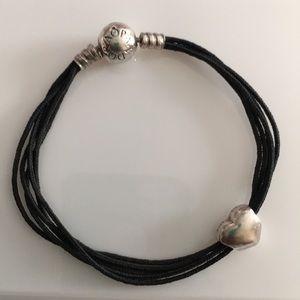 Pandora black string wrap bracelet